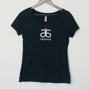 Arbonne Sparkle Logo T-Shirt Top Charcoal Gray L